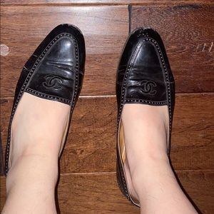 chanel loafers flats ballets patent black heel 7.5